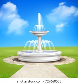 Fountain in garden at blue sky background realistic vintage composition with track lined by paving tiles and lawn grass vector illustration