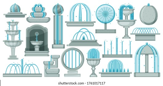 Fountain isolated cartoon set icon. Vector illustration waterfall on white background. Vector cartoon set icon fountain.