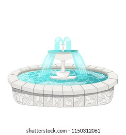 Fountain isolated on white background. Cartoon. For game design.