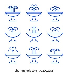 Fountain outline icon set. Vector isolated flat illustration.