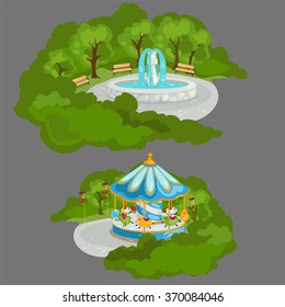 The fountain in the Park and the carousel. Vector.