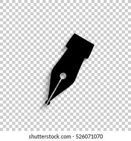 Fountain pen - black vector  icon with shadow