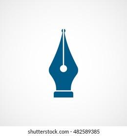 Fountain Pen Blue Flat Icon On White Background