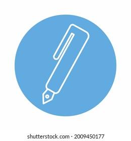 Fountain Pen - Blue Moon Style. simple illustration. Editable stroke. Design template vector.outline style design .Vector graphic illustration
