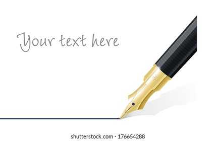 Fountain Pen Drawing Line Vector Template Close up of fountain pen nib drawing straight line. Space for text. Vector Illustration.