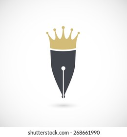 Fountain pen icon and crown icon / logotype. Isolated on white background. Vector illustration, eps 10.