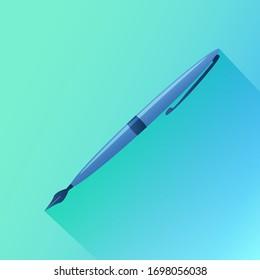 Fountain pen icon .Flat icon for web design.Vector illustration.