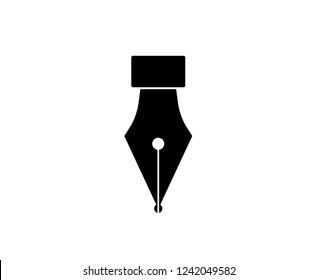 Fountain pen icon isolated on white background. Fountain pen simple silhouette. Web site page and mobile app design vector element.