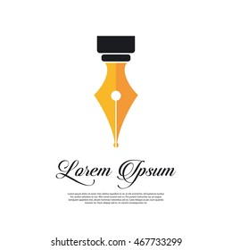 Fountain pen icon vintage style with gold pen