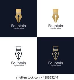 Fountain Pen Logo template. Corporate branding identity