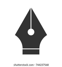 Fountain pen nib glyph icon. Silhouette symbol. Computer pen tool. Negative space. Vector isolated illustration