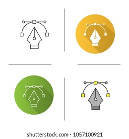 Fountain pen nib icon. Computer pen tool. Drawing. Flat design, linear and color styles. Isolated vector illustrations