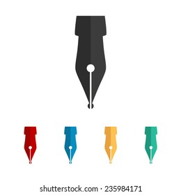 Fountain pen - vector icon, flat design