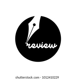 A fountain pen writing the word review in black circle and white background