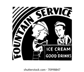 Fountain Service - Retro Ad Art Banner
