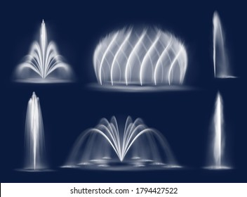 Fountain water jets isolated vector cascades and single splashing streams. Realistic multiple geysers flows eruption, 3d water jets spurt up. Waterworks elements for park decoration and design set