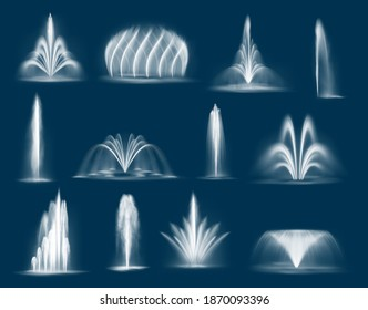 Fountain water jets isolated vector cascades and single splashing streams, 3d water jets spurt up. Waterworks elements for park decoration and design. Fountain multiple geysers flows eruption