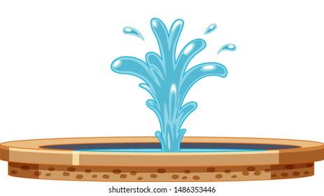 Fountain with water splashing illustration
