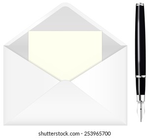 Fountain writing pen and open envelope with paper. Vector drawing isolated.