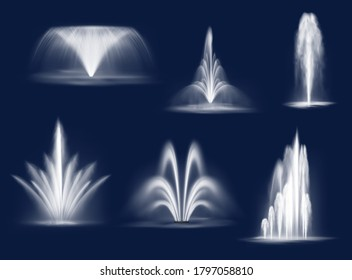 Fountains cascades, isolated vector water jets and white streams. 3d fountain of transparent aqua for parks or gardens decoration. Summer fountains cascading liquid curve splashes and spraying