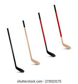 Four 3d realistic ice hockey sticks. Vector set.