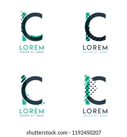Four abstract CI logo posts set with dot and slash, green and black. very suitable for corporate identity, business, letterhead ,cards and banners