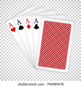 Four aces in five card poker hand playing cards with back design. Winning poker hand