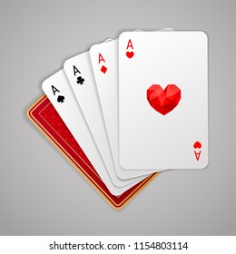 Four aces in five playing card with red back design on grey background. Winning poker hand