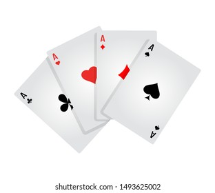 Four aces flat vector illustration. Game of chance. Playing poker. Card kare isolated clipart on white background. Winning combination. Casino games. Gambling, blackjack and baccarat
