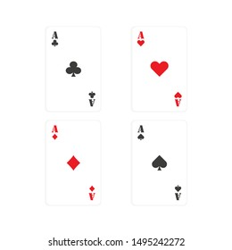 four aces poker cards in flat style, vector