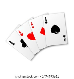 Four aces. Poker winning hand. Card suit vector illustration on white background. Hearts, clubs spades and diamonds ace.