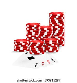 Four Aces and red poker chips stack isolated on white background. vector illustration