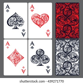 Four aces. Set of vector playing card suits and back design made by floral elements. Vintage stylized illustration in red and black color on white background. Works well as print, icon, emblem, symbol