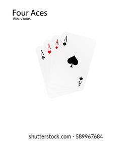 Four Aces - your win combination. Card game - poker. Vector illustration isolated on white background