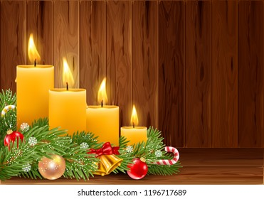 Four Advent Christmas burning candles with festive decorations on wooden background. Xmas greeting. Vector illustration.