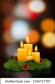 Four Advent Christmas burning candles with festive decorations, fir tree branches and pine cones on blurred night background. Xmas greeting. Vector illustration.