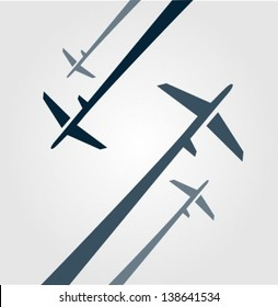 Four airplanes background