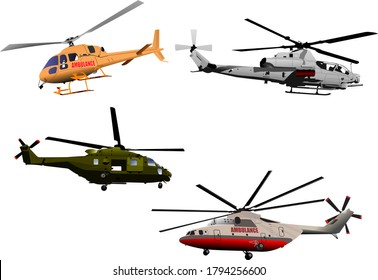 Four Ambulance or army helicopter. Vector 3d illustration