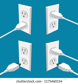 Four american abstract wall outlets with two inputs and plugs - vector clipart