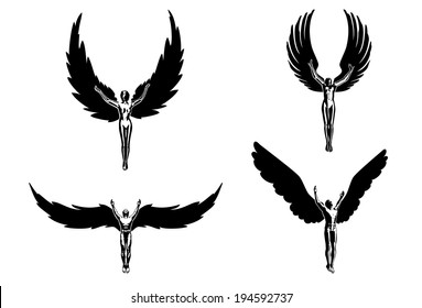 Four angels religion people symbol sign flying
