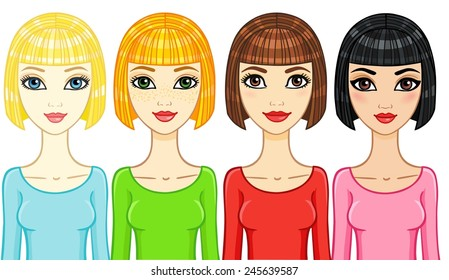 Four animation girls of a different phenotype.  Isolated on a white background.
