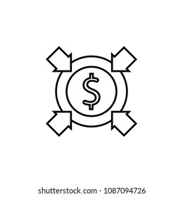 Four arrows dollar sign circle. Line vector icon on white background. Devaluation and inflation. Perfect for web and software interfaces.