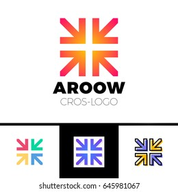Four arrows logo form cross or plus graphic concept, intersection 4 directions creative emblem