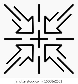 Four arrows penetrate to indicate the center of the page from 4 directions. The solution of the problem. New idea. Connection of directions. Converge at one point on the path.