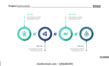 Four aspects flowchart slide template. Business data. Graph, diagram. Creative concept for infographic, presentation, report. Can be used for topics like process, teamwork, strategy