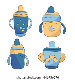 Four baby boy bottles on white background
