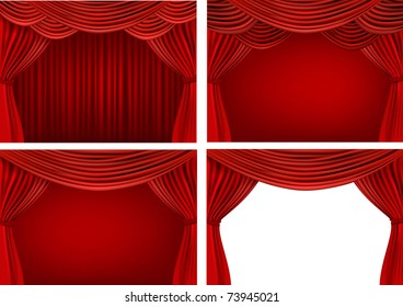 Four backgrounds with red velvet curtains. Vector illustration.