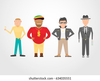 """Four """"bad guys"""" types in cartoon style."""