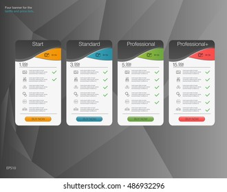 Four banner for the tariffs and price lists. Web elements. Plan hosting. Vector design for app.