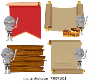 Four banner template with medieval knights illustration